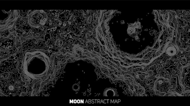 Vector abstract moon relief map Free Vector