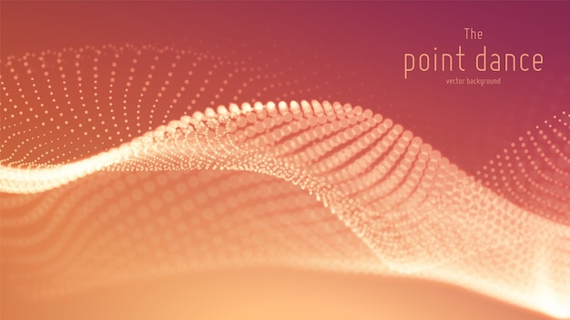 Vector abstract red particle wave, points array, shallow depth of field. futuristic illustration. technology digital splash or explosion of data points. point dance waveform. cyber ui, hud element. Free Vector