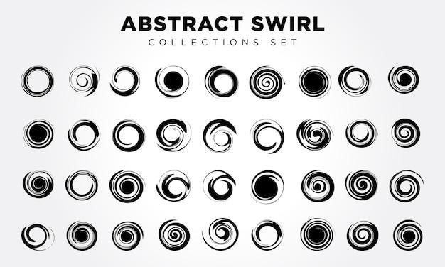 Vector abstract spiral elements set Premium Vector