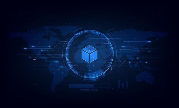 ベクトル抽象技術未来。ハイテク回路基板、イラストハイコンピューター技術。ハイテクデジタルテクノロジー Premiumベクター
