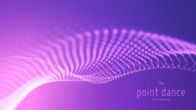 Vector abstract violet particle wave, points array, shallow depth of field. futuristic illustration. technology digital splash or explosion of data points. point dance waveform. cyber ui, hud element. Free Vector