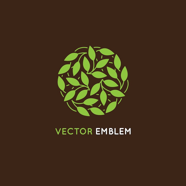 Vector abstrat logo design template - circle made with green leaves Premium Vector