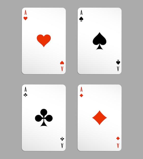 Vettore asso carte da gioco, quattro su sfondo bianco Vettore gratuito