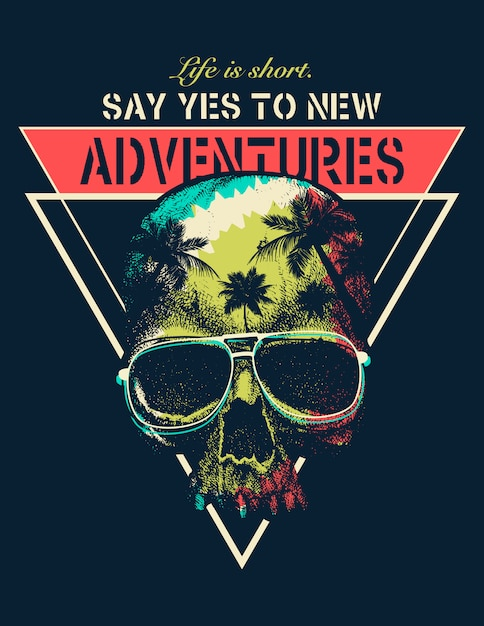 Vector adventure graphic with a scary skull Premium Vector
