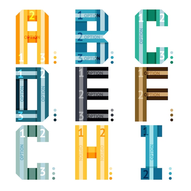Vector alphabet letters with stripes and number options for use as infographic Free Vector