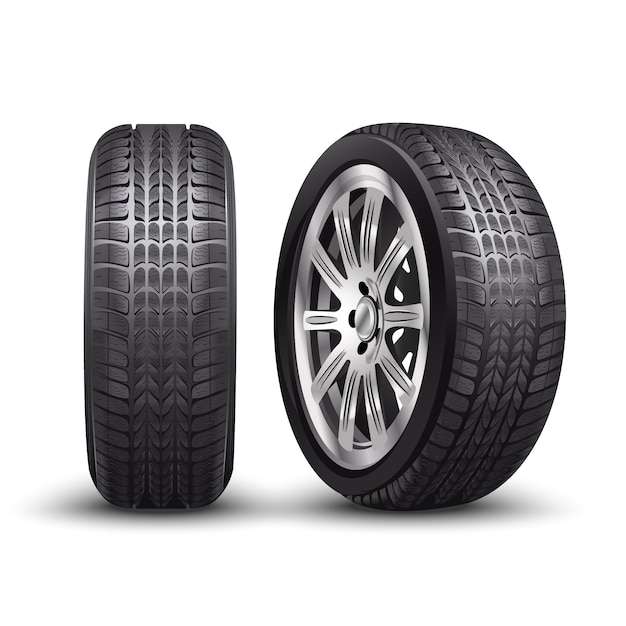 Vector aluminum racing car tire or auto tyres in front and side view. Premium Vector