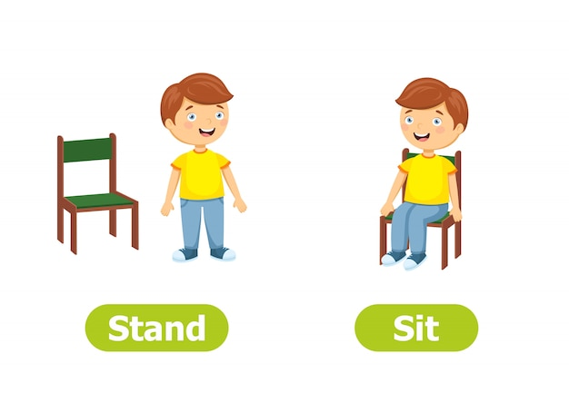 Vector antonyms and opposites. cartoon characters illustration. stand and sit Premium Vector