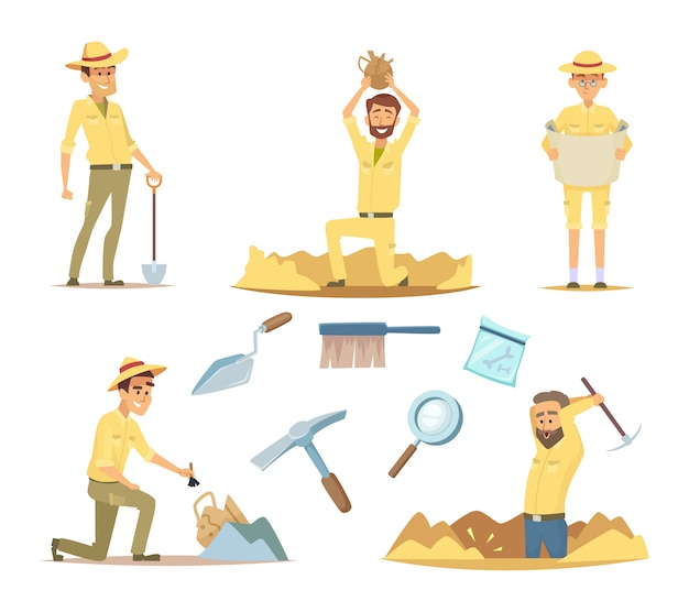 Vector archaeologist characters at work. cartoon mascots in action poses Premium Vector