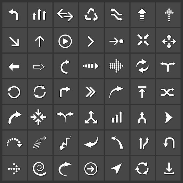Set di icone frecce vettoriali, prossimo backup download giù aggiornamento Vettore gratuito