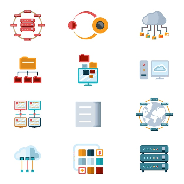 Vector assorted colored computer networking icons with files  servers and computer devices isolated on white background. Free Vector