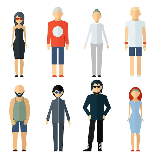 Vector assorted people on different lifestyle isolated Free Vector