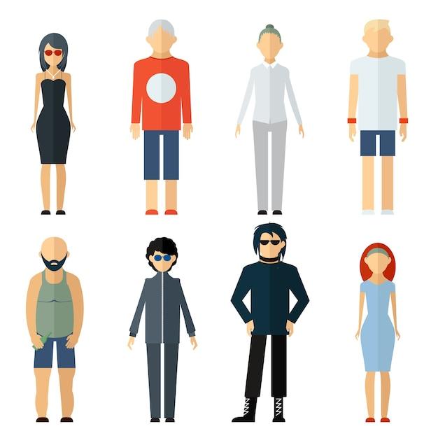 Вектор ассорти людей на разный образ жизни изолированы Бесплатные векторы
