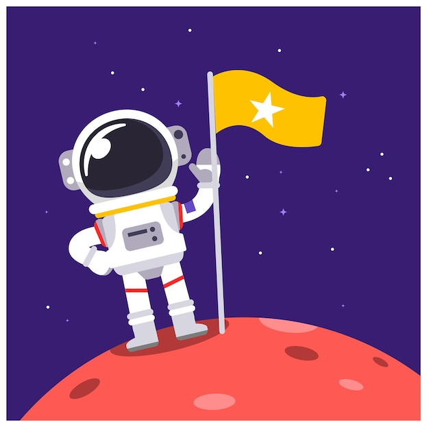 Vector astronaut character standing on some planet with a flag in the space. Premium Vector