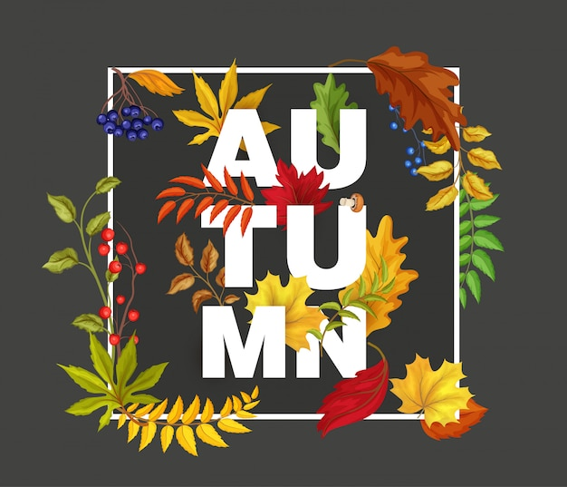Vector autumn leaves maple, oak, rowan and blueberry berries - forest fall symbols. poster banner Premium Vector