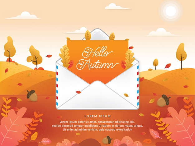 Vector of autumn season with email Premium Vector