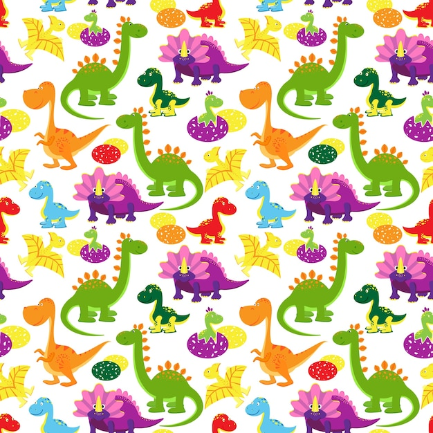 Vector baby dinosaurs seamless pattern, kids background Free Vector