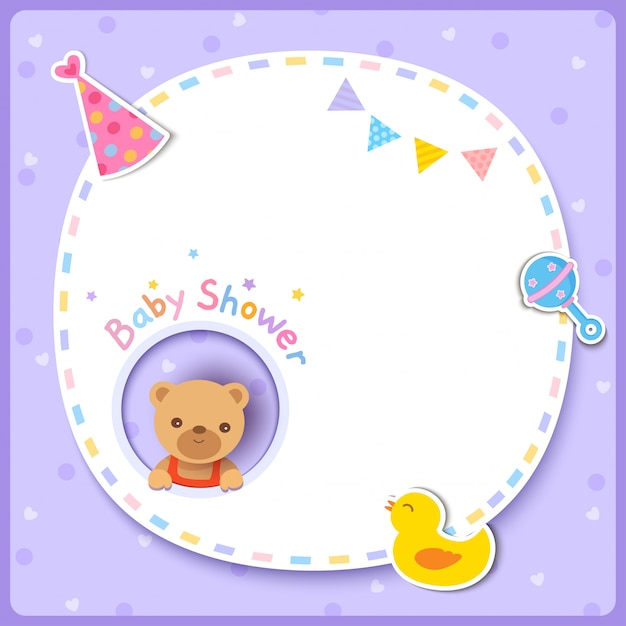 Vector of baby shower card with cute bear and frame on purple background. Premium Vector