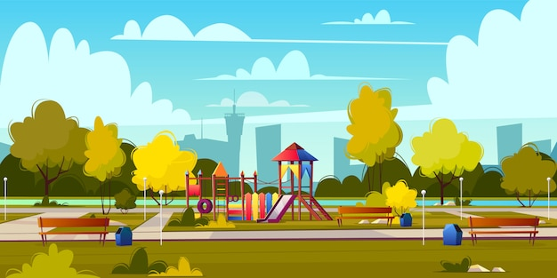Vector background of cartoon playground in park at summer. landscape with green trees, plants and bu Free Vector
