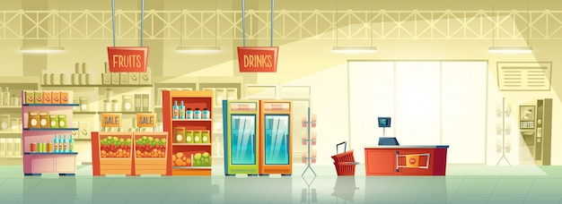 Vector background of empty supermarket Free Vector