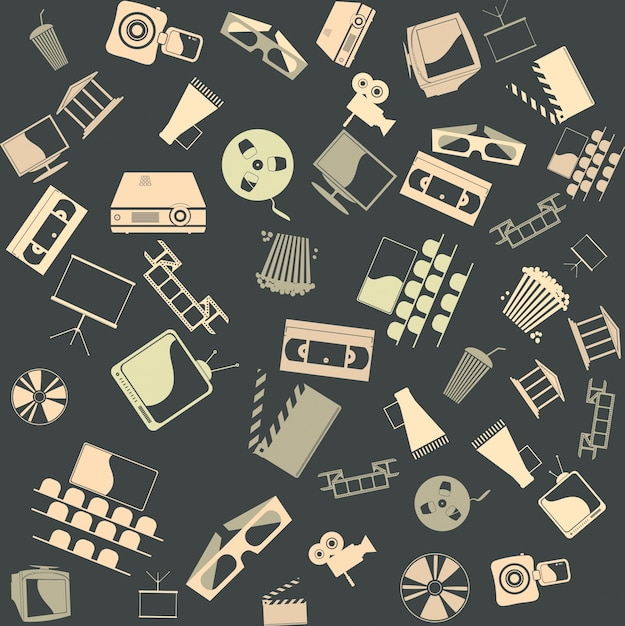 Vector background seamless. retro film Free Vector