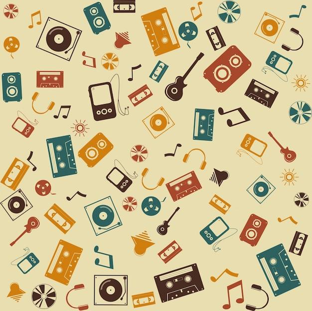Vector sfondo senza soluzione di continuità. retro musica suono. Vettore gratuito