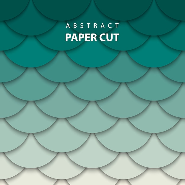 Vector background with beige and green paper cut Premium Vector
