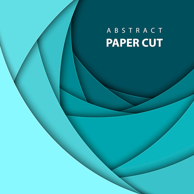 Vector background with blue color paper cut. Premium Vector