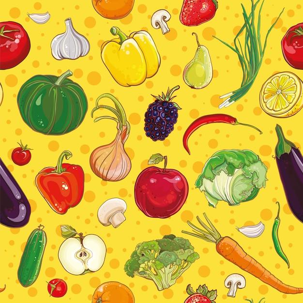 明るくカラフルな野菜や果物のベクトルの背景。シームレスパターン。 Premiumベクター