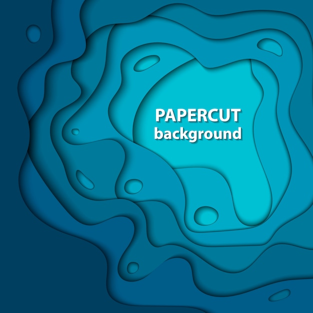 Vector background with deep blue color paper cut. Premium Vector