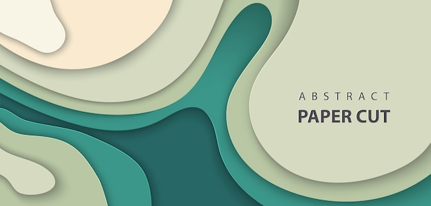 Vector background with deep green color paper cut Premium Vector