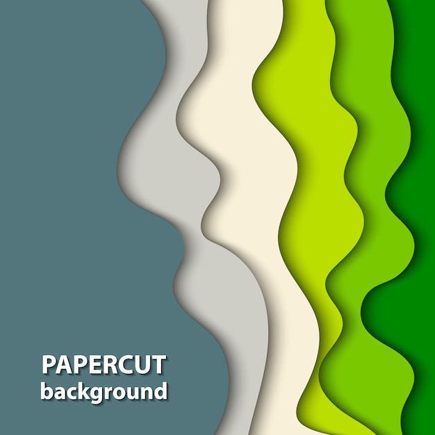 Vector background with green and beige paper cut Premium Vector