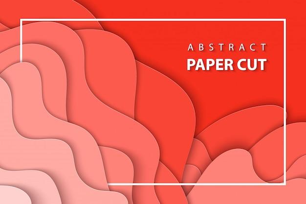 Vector background with pastel coral paper cut Premium Vector