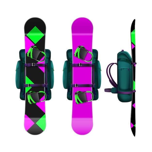 Zaini di vettore con fronte snowboard rosa, magenta, verde, nero, vista laterale isolata su priorità bassa bianca Vettore gratuito