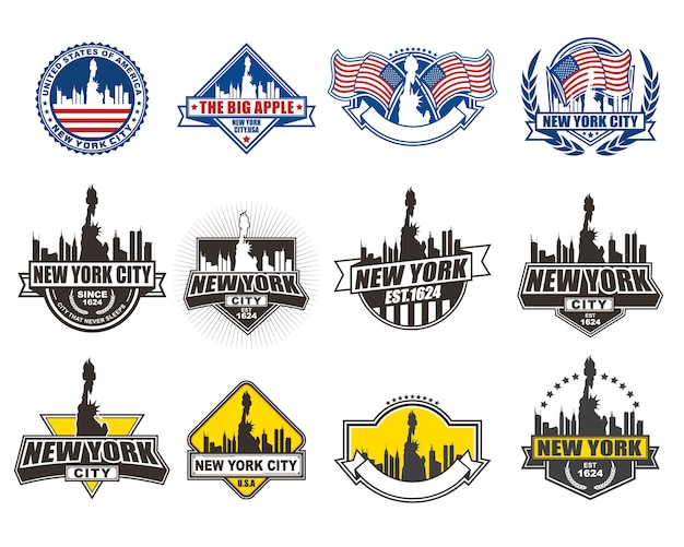Vector badge design collection set with new york theme Premium Vector