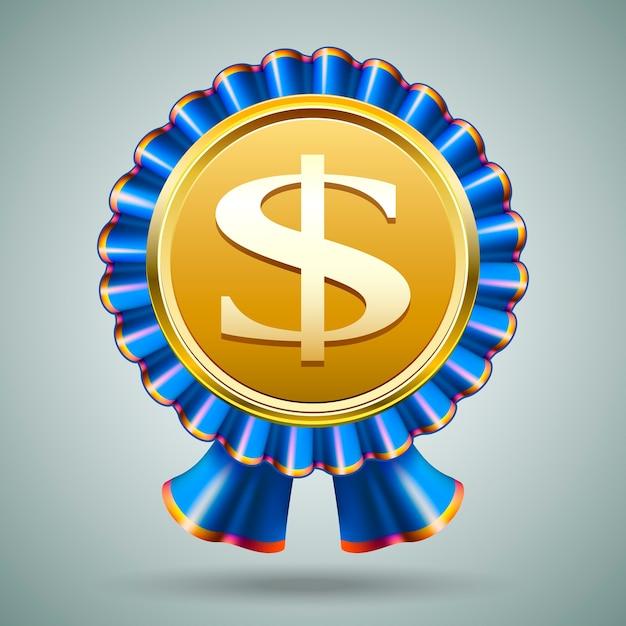 Distintivo di vettore con un segno di dollaro in rilievo su un medaglione d'oro metallico in una rosetta di nastro blu pieghettato su uno sfondo grigio in un premio monetario o un concetto economico Vettore gratuito