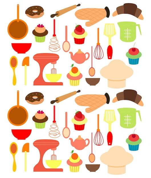 Vector of bakery tools. Premium Vector