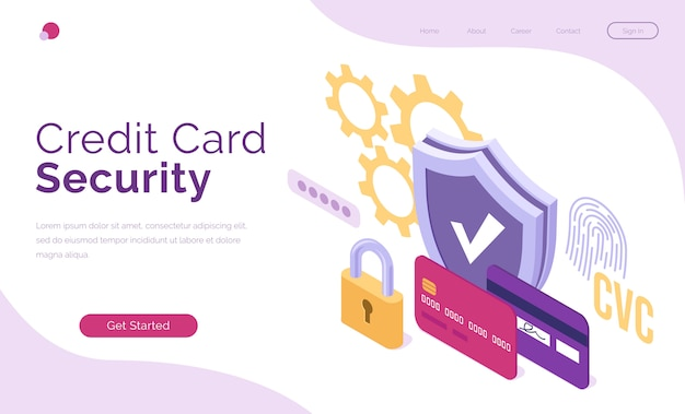 Vector banner of credit card security Free Vector