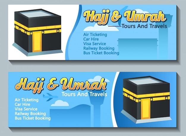 Vector banner design of hajj umrah pilgrim travel advertising. Premium Vector