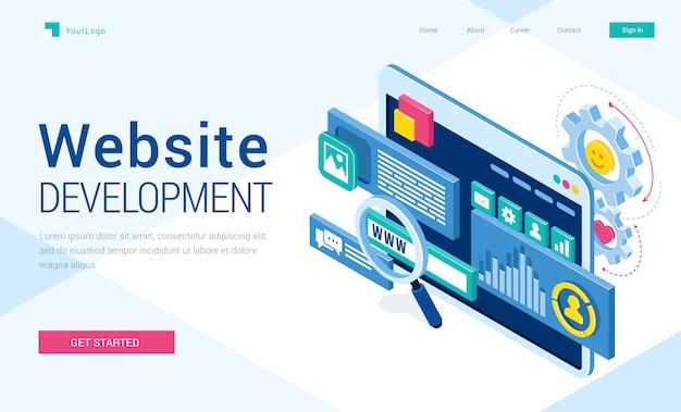 Векторный баннер разработки веб-сайтов Бесплатные векторы