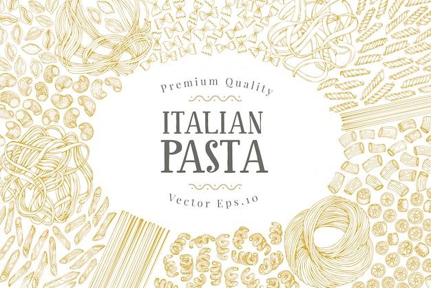 Вектор баннер шаблон с разными видами традиционной итальянской пасты. Premium векторы