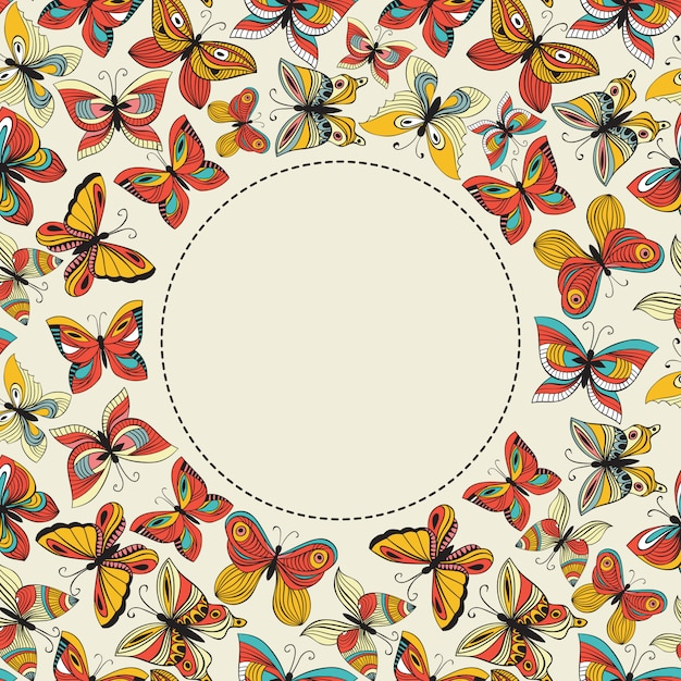 Vector banner with colorful butterflies and place for your text Premium Vector