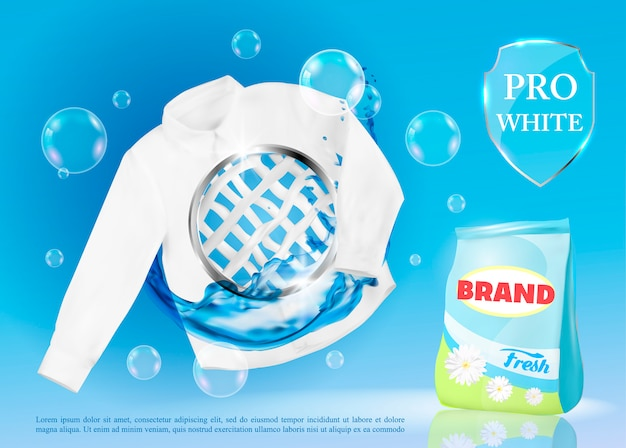 Vector banner with laundry detergent. Premium Vector