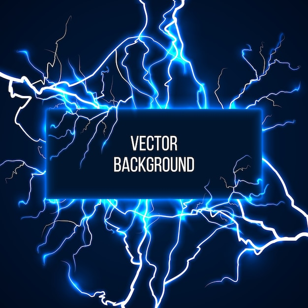 Vector banner with lightnings and discharge current. electricit, voltage storm, weather nature illustration Free Vector