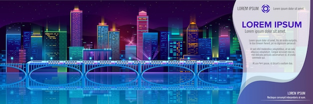 Vector banner with night city in neon lights Free Vector