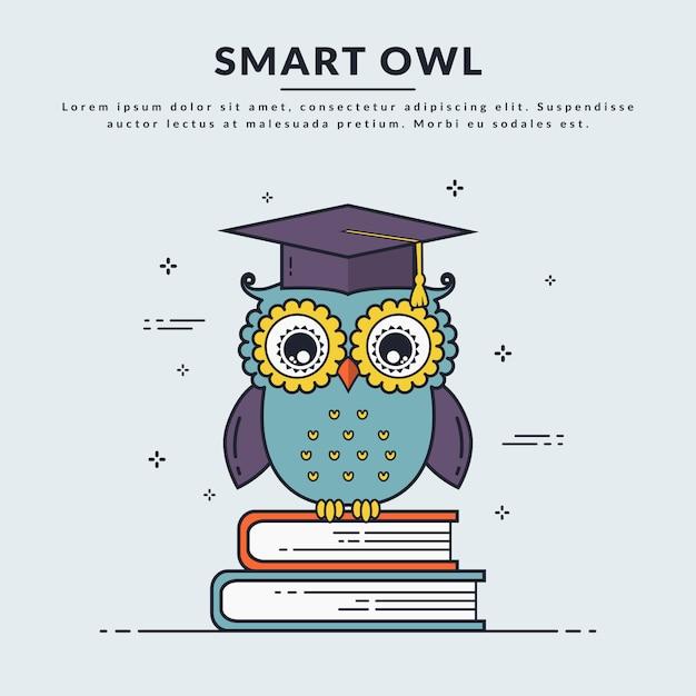 Vector banner with smart owl. Premium Vector