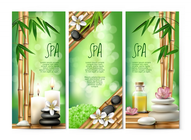 Vector banners for spa treatments with aromatic\ salt , massage oil, candles.