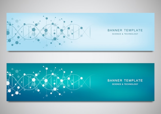 Vector banners and headers for site with dna strand and molecular structure Premium Vector