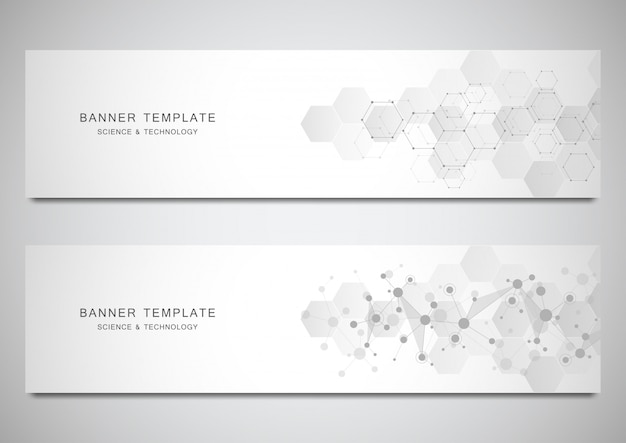 Vector banners and headers for site with molecules background and neural network. Premium Vector