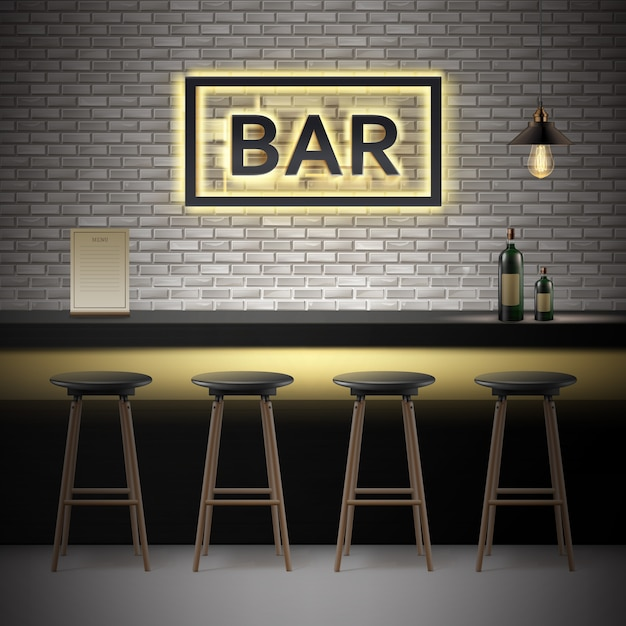 Vector bar, pub interior with brick walls, counter, chairs, bottles of alcohol,menu, illuminated signboard and lamp Free Vector