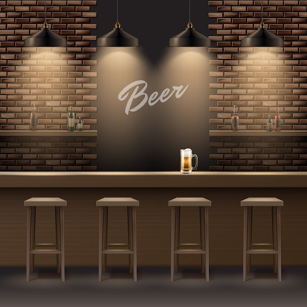ベクトルバー、レンガの壁、木製のカウンター、椅子、棚、アルコール、ビールのマグカップとランプのあるパブのインテリア Premiumベクター